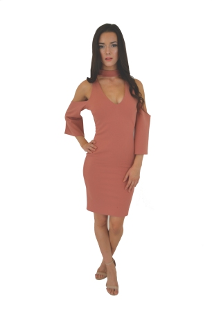 Cold Shoulder Dress With Neck Band: £20.00